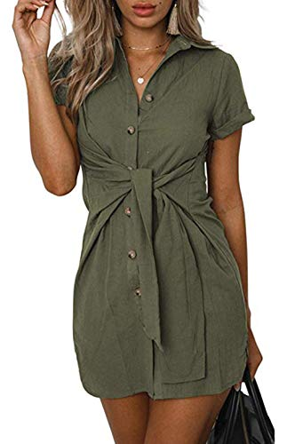 LAWBUCE Women's Casual Mini Shirt Dress Short Sleeve Front Tie Bandage Pencil Party Long Shirts Army Green, X-Large ()