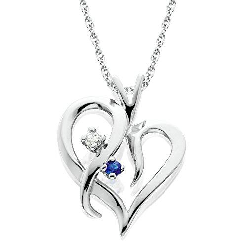 (Blue Sapphire & Diamond Heart Pendant 14 KT White Gold With 18