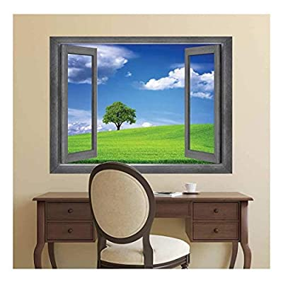 Delightful Design, Open Window Creative Wall Decor A Lone Tree Displayed with a Clear Blue Sky Wall Mural, Professional Creation