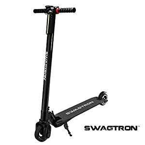 Swagtron SWAGGER 1, BLACK High Speed Adult Electric Scooter; Ultra-Lightweight Carbon Fiber; Easy Fold-n-Carry Design (Black)