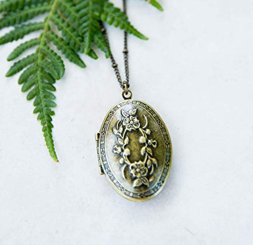 - Oval Locket Antique Brass-Tone Vintage Look Necklace 1.5x1