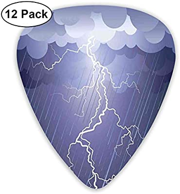 Guitar Picks 12-Pack,Lightning Strike Thunderstorm In Air At Dark ...