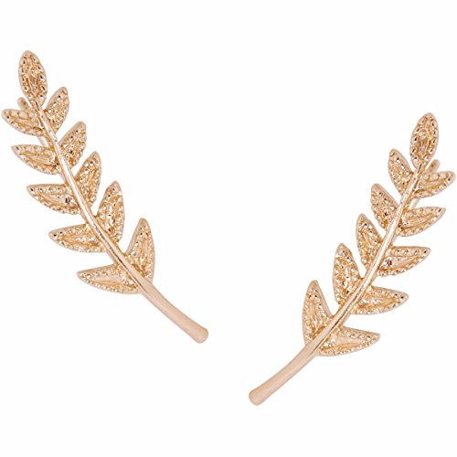 Humble Chic Tiny Leaf Ear Climbers - Delicate Crawler Cuff Stud Jacket Earrings, (Gold Leaf Earrings)