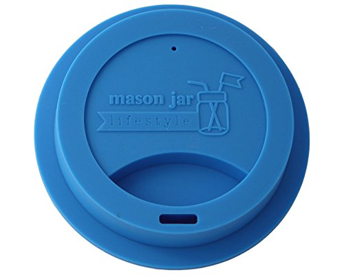 Silicone Drinking Lid for Mason, Ball, Canning Jars (Bright Blue, Wide Mouth) (Blue Quart Canning Jars compare prices)
