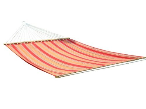 Hangit 13FT Quilted Fabric Hammock Outdoor Swing for home - Red Stripe