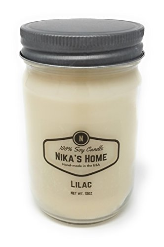 Highly Scented Soy Candle (Nika's Home Lilac Soy Candle - 12oz Mason Jar)