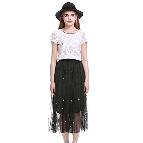 ZAFUL Mujer Falda Largo de Playa Maxi Tul Princesa Plisada Delgada Cintura Elástica Flores de Perlas Tamaño S-XL