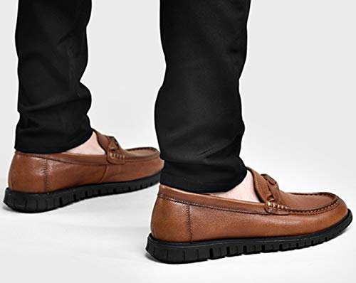 Leather Da Lazy Brown Scarpe Brown Black Uomo Casual Mocassini MYXUA Shoes Business Fashion wx5YqC8gY