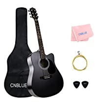 41 inch Acoustic Guitar Starter Kits Full Size Student Steel String Acoustic Guitar Package with Bag Wipe Pick Extra String