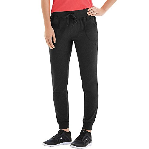 Champion Women's Jersey Pocket Pant, Black, (Black Sweatpants)