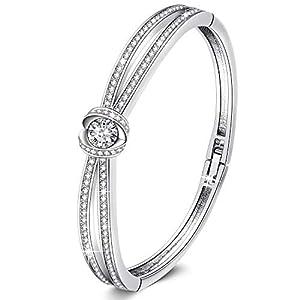 GEORGE · SMITH Classique Bracelet Plaqué Argent Femme Bracelet Or Rose avec Cristal, Bracelet Femme Cadeau Fête des…