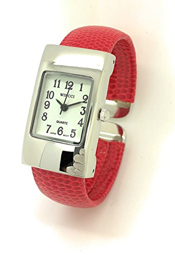 Ladies Small Rectangle Snakeskin Leather Bangle Cuff Watch White Dial Wincci (red) - Womens Rectangle Bangle Watch