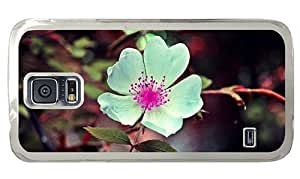 Hipster Samsung Galaxy S5 Case unique cover white flower pink seeds PC Transparent for Samsung S5