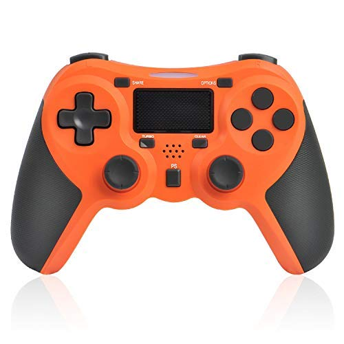TGJOR PS4 Controller - Bluetooth Gamepad Six Axies DualShock 4 Wireless Controller Compatiable with Playstation 4, Touch Panel Joypad with Dual Vibration(Orange)