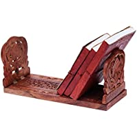 Decorative Wooden Book or CD DVD Stand Rack Holder Shelf Folding Expandable Book End with Intricate Floral Hand Carvings