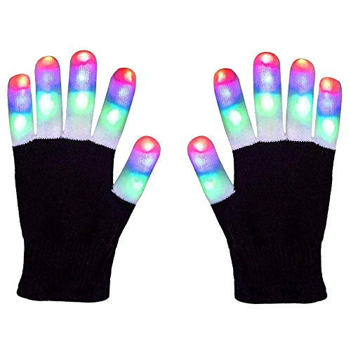 Arcadia Outdoors LED Raving Gloves Flashing Finger Lights 7 Colorful Rave Modes -
