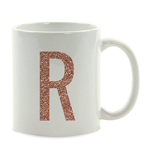 Andaz Press 11oz. Coffee Mug Gift, Rose Gold Faux Glitter, Monogram Letter R, 1-Pack, Friend Girlfriend Wife Teacher Graduation Colored Birthday Christmas Gift Ideas Decorations