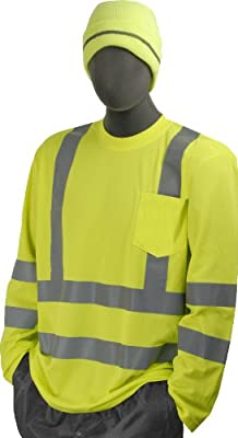 Majestic Glove 75-5355 Birdseye Polyester High Visibility Long Sleeve T-Shirt with Double Waist Stripes, X-Large, Yellow