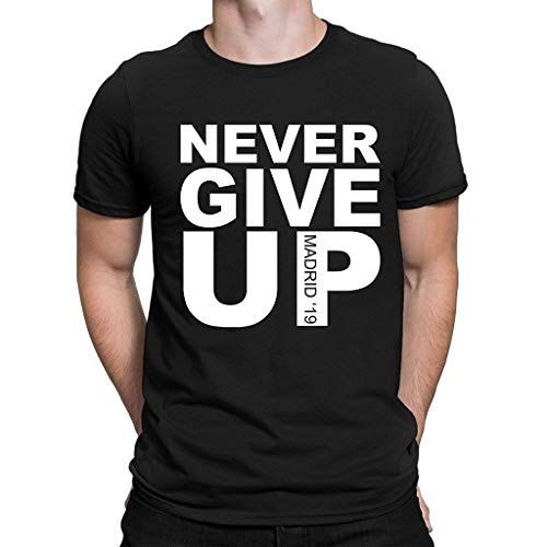 Fiaya men Blouse Never Give Up Letter Print O-Neck Short Sleeve T-Shirt Tops Cheer for The Champions League (M, Black)