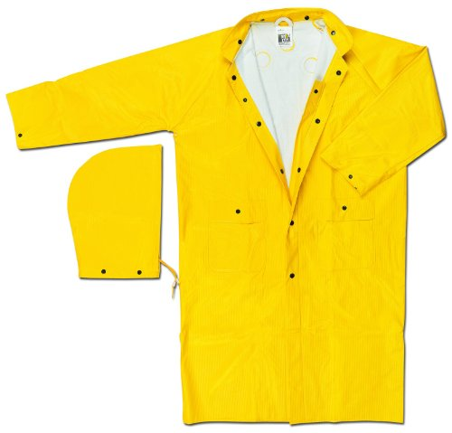 Price comparison product image MCR Safety 600CX2 49-Inch Commodore PVC / Non-Woven Polyester / Nylon Rain Coat with Cape Vented Back and Detachable Hood,  Yellow,  2X-Large