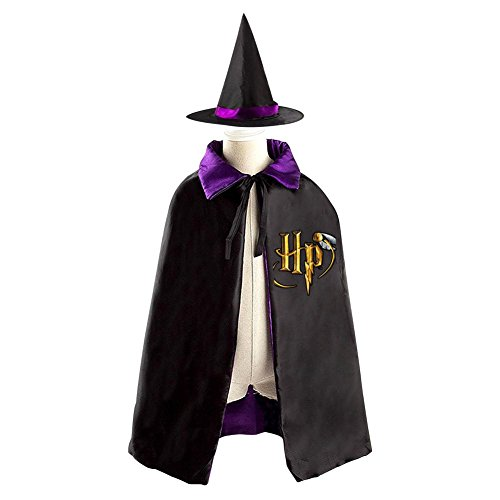 Cheap Harry Potter Robes (DBT Harry Potter HP Logo Childrens' Halloween Costume Wizard Witch Cloak Cape Robe and Hat)