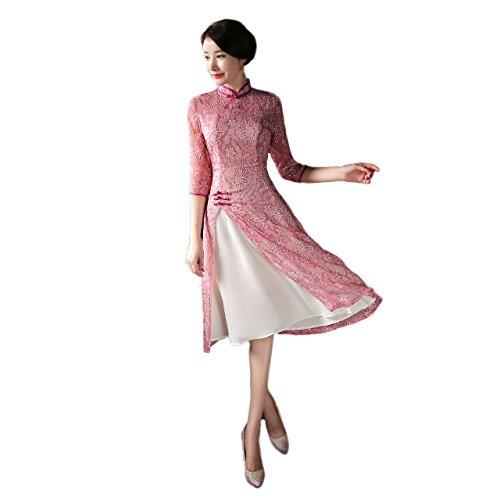 Shanghai-Story-Knee-Length-Qipao-Vietnamese-AoDai-Chinese-Cheongsam-Dress-M-Pink