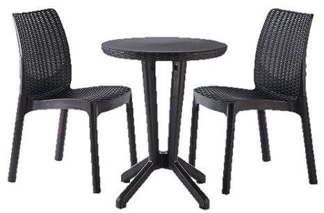 Conjunto de mesa y sillas rattan Bistrot gris: Amazon.es: Bricolaje ...