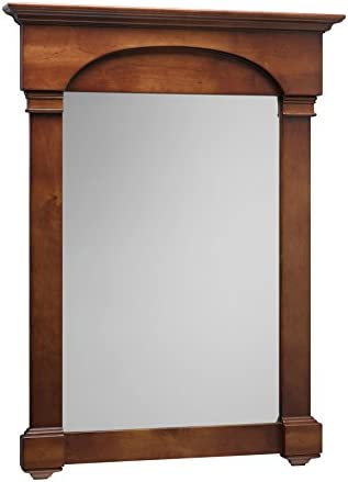 MAYKKE Betty 30 W x 40 H Wood Framed Rectangle Wall Mirror Decorative Brown Border Edge with Crown Moulding for Vanity, Bathroom, Bedroom Cherry Americana, YSA2130201