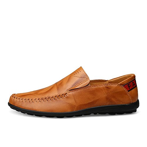 Yellow il Mocassini shoes on libero EU Dimensione Mocassini per Mocassini 41 2018 slip guida Color Brown uomo tempo da pelle Hongjun da in uomo Comfort xO5wdqxR