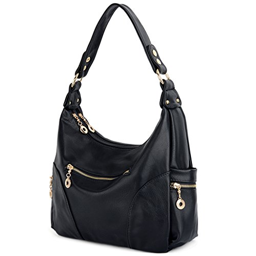 Zipper Strap Detachable (UTO Women Handbag PU Leather Purse Hobo Style Multi Pocktets Shoulder Bag A Black 191)