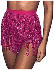 Mayelia Rave Rok met franjes, pailletten, kwastrok, buikdans, heupsjaal, rave-outfit voor vrouwen en meisjes