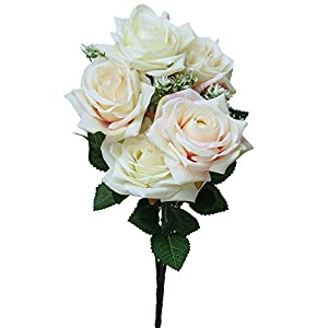 MaxFox 7 Head Artificial Flowers,Fake Roses Bouquet Bridal Holding Bouquet Wedding for Party Home Garden Decoration (G) 37