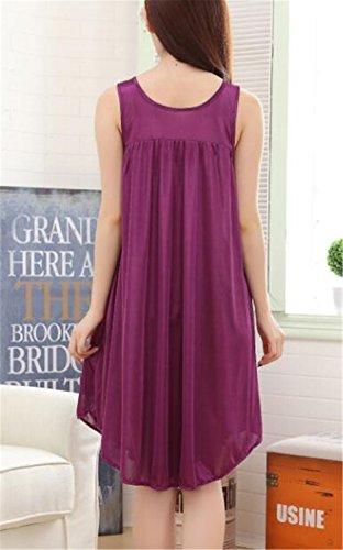 Donna Femminili BESTHOO Purple da Sleepwear Maniche Notte Notte da Vestito Abito da Dark Camicia Unita Comoda Senza Vestito Notte da Pigiama Tinta rCtwCP