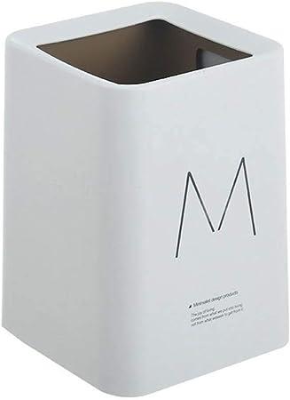 JUNGEN Cubo de Basura plastico Papeleras de Cuadrado Creativo con Diseño de Doble Capa y Letra M Bote de Basura para Hogar Cocina Dormitorio Oficina Jardin Contenedor de Basura (Gris): Amazon.es: Hogar