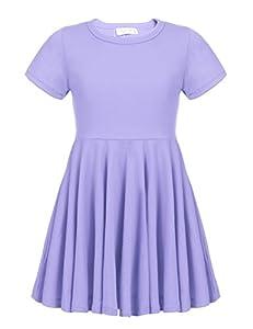 Arshiner Girls Dress Short Sleeve A Line Swing Skater Asymmetrical Hem Dress