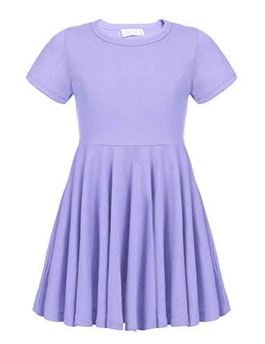 Arshiner Girls Dress Short Sleeve A Line Swing Skater Twirl Summer Dress 2-12 Years Lilac -
