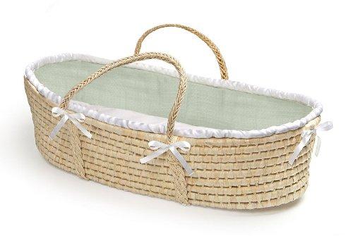 Natural Moses Basket with Sage Waffle Bedding by Badger Basket Badger Baskets