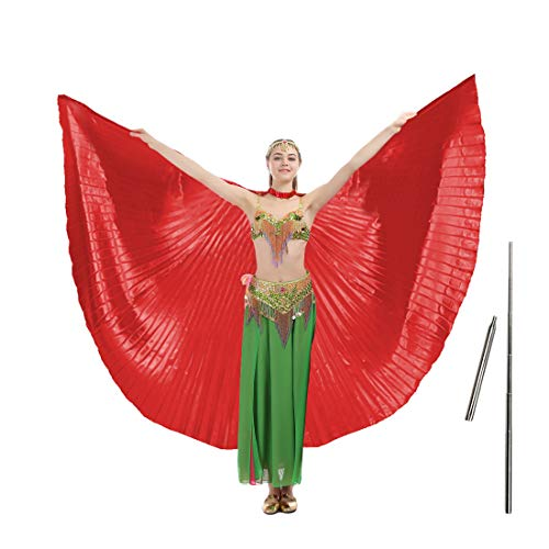 iMucci 55inch Adult Women Belly Dance Wing with Rods-360 Degree Isis Angel Wings with Portable Telescopic Sticks Red ()