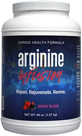L-Arginine Infusion Jumbo Jar 66oz 6 11oz jars – Natural formula for Cardio Health 5000mg L-Arginine, 1000mg L-Citrulline, 50mg CoQ10, 50mg AstraGinTM Per Serving
