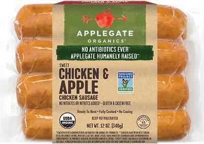 Applegate Sweet Chicken & Apple Chicken Sausage 12 Oz (4 Pack)