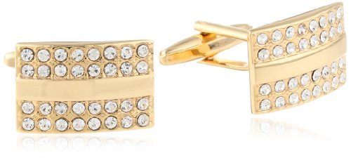 - Stacy Adams Men's Gold Rectangle Cuff Link With Crystals, Gold/Crystal, One Size