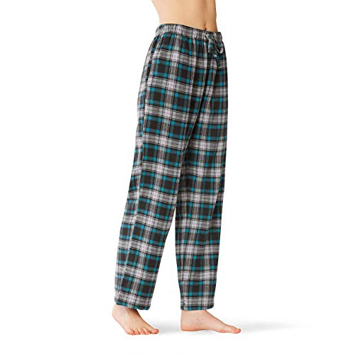 (SIORO Womens Flannel Pajama Pants Soft Cotton Plaid Sleepwear Loungewear Bottoms Long, Blue M)