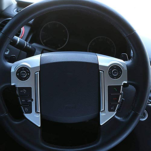 Car Steering Wheel Cover Trim Decoration Sticker for Land Rover Discovery 4 LR4 2010-2016 ABS Chrome Accessories 3Pcs/Set (Silver)