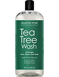 Antifungal Tea Tree Body Wash, Helps Nail Fungus, Athletes Foot, Ringworms, Jock Itch, Acne, Eczema & Body Odor, Soothes Itching & Promotes Healthy Feet, Skin and Nails, Naturally Scented, 16 fl. oz.