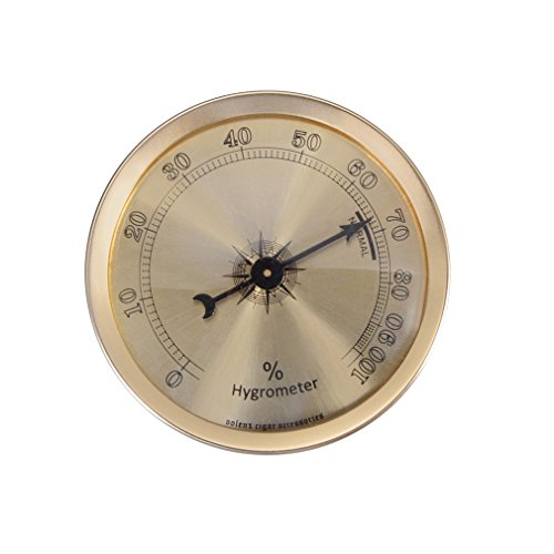 Analog Hygrometer, Round Cigar Hygrometer with +/- 1% Accuracy for Indoor and Outdoor(Gold) ()