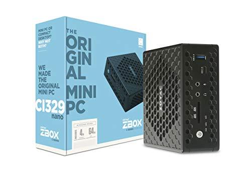 ZOTAC ZBOX Ci329 Nano Silent Mini PC Intel N4100 Quad-Core, Intel UHD 600 Graphics, HDMI, VGA, DisplayPort, 4GB DDR4/64GB SSD/Windows 10 Pro System, ZBOX-CI329NANO-U-W2C