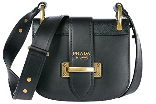 Prada women's leather shoulder bag original black (Bag Prada Shoulder Leather Handbag)