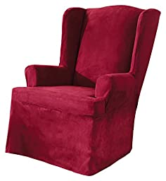 Sure Fit Soft Suede  - Wing Chair Slipcover  - Burgundy (SF34520)