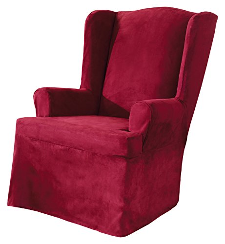 Sure Fit Soft Suede  - Wing Chair Slipcover  - Burgundy (Burgundy Wing Chair Slipcover)