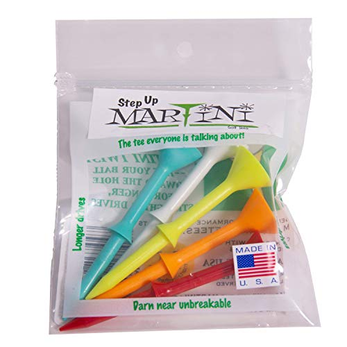 Martini Golf Tees DMT007 Durable Plastic Step-UP Tees (5 Pack), Assorted Colors